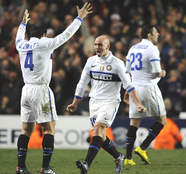 Inter Milan players celebrate after their win over Chelsea