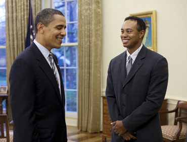 Barack Obama alongwith Tiger Woods
