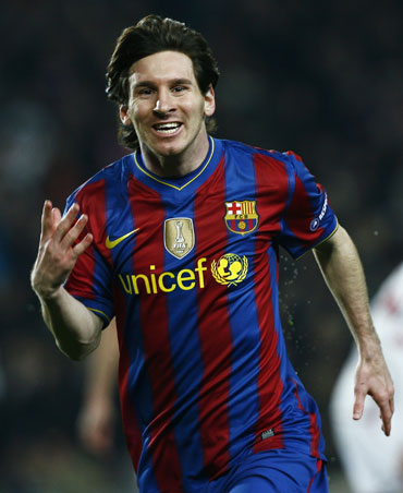 Messi reacts after scoring