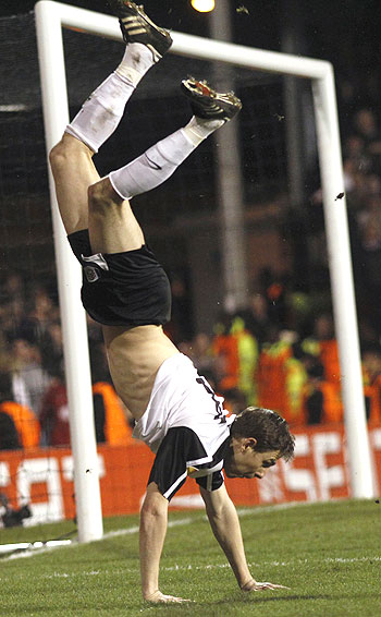 Zoltan Gera of Fulham is cock-a-hoop after scoring against Juve