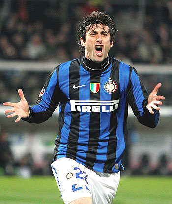 Inter Milan's Diego Milito celebrates after scoring against Palermo