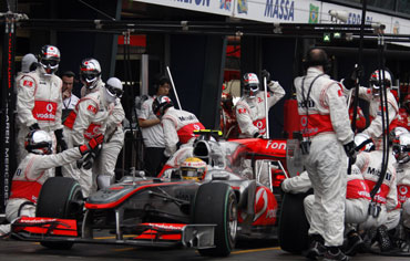Hamilton during a pitstop