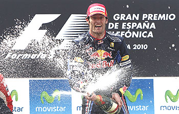Rd Bull's Australian driver Mark Webber celebrates after winning the Spanish GP in Barcelona on Sunday