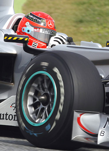 Michael Schumacher drives during the practice session in Barcelona