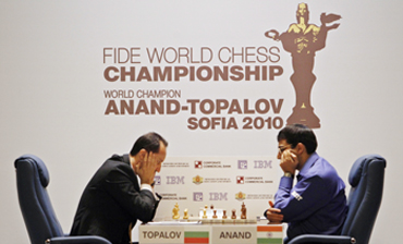 Anand faces Topalov at the FIDE World Chess Championship match in Sofia