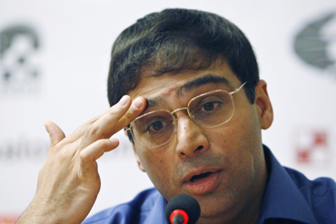 World chess champion Anand of India speaks during a news conference in Sofia