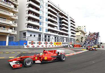 Felipe Massa negotiates a bend during the Monaco F1 Grand Prix
