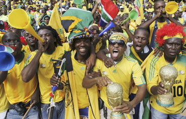 South African fans ahead of a friendly match