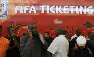 South Africans queue to buy tickets for the 2010 FIFA World Cup