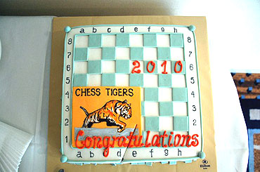 A cake prepared by the Hilton hotel to celebrate Anand's World Championship victory