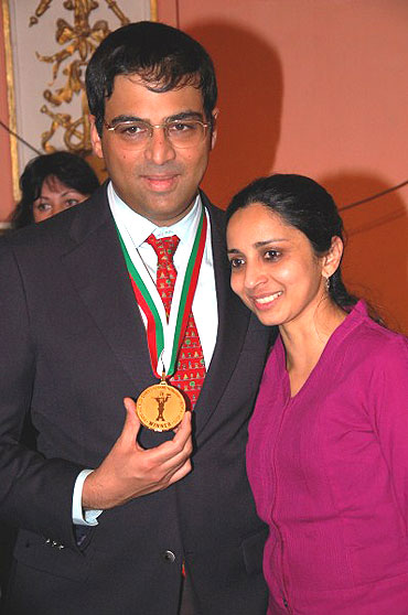 Anand and Aruna with the gold medal