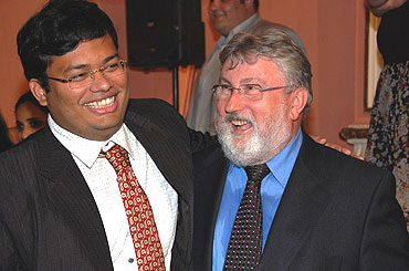 Anand's seconds Surya Shekhar Ganguly and advisor Hans-Walter Schmitt (left) after the victory