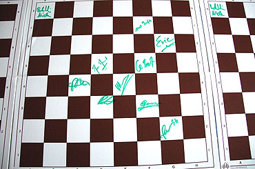 The chess board with signatures of all the team members