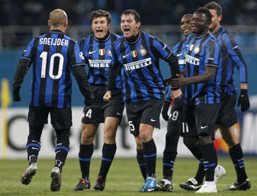 Inter Milan players celebrate after a win