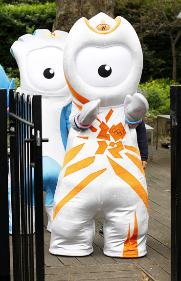 The 2012 Olympic mascot Wenlock and Paralympic mascot Mandeville arrive at St. Paul's primary school