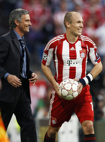 Arjen Robben and Jose Mourinho