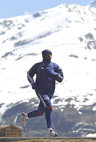 French footballer William Gallas trains in the French Alps resort of Tignes