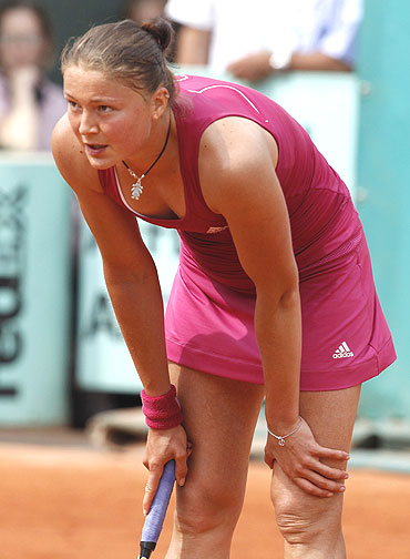 Dinara Safina  reacts after losing to Date Krumm