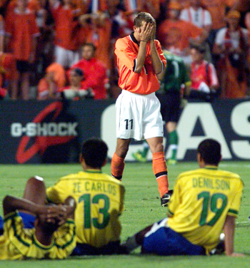 Dutch player Philip Cocu misses the penalty against Brazil in the 1998 World Cup semi-finals