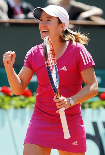 Henin reacts after beating Zakopalova