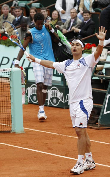 Fabio Fognini celebrates after his match against Gael Monfils