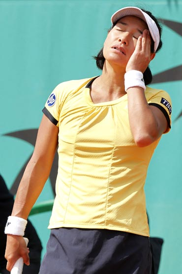 Date Krumm reacts after losing her match to Jarmila Groth