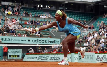 Serena Williams in action against Anastasia Pavlyuchenkova