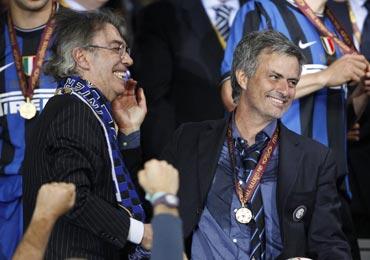 Massimo Moratti and Jose Mourinho
