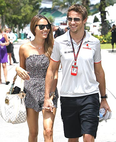 jenson button with former girlfriend jessica michibata