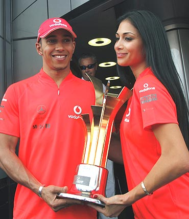 Lewis Hamilton along with Nicole Scherzinger after winning Turkish GP
