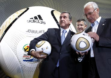 Franz Beckenbauer with the World Cup ball