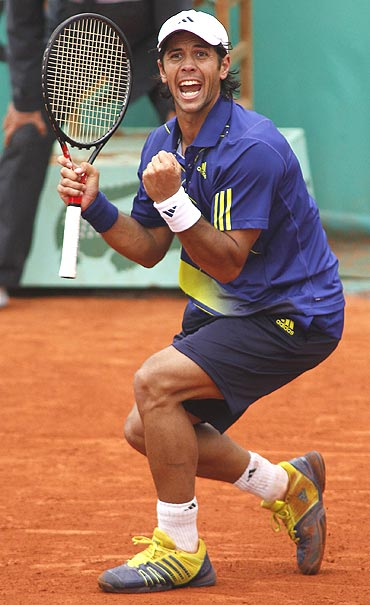 Fernando Verdasco reacts after winning his match against Philipp Kohlsschreiber