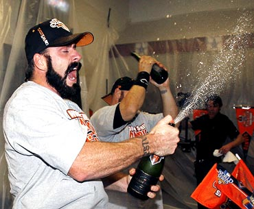 San Francisco Giants closer Brian Wilson celebrates