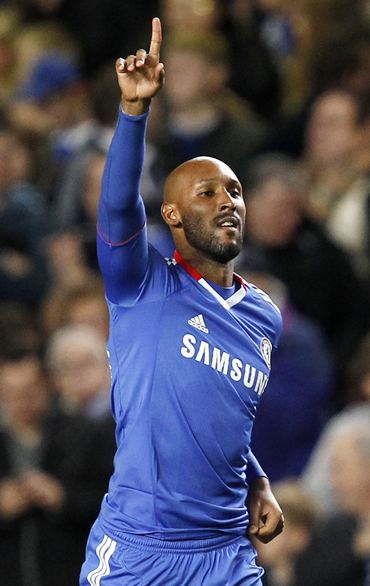 Nicolas Anelka celebrates his goal against Spartak Moscow