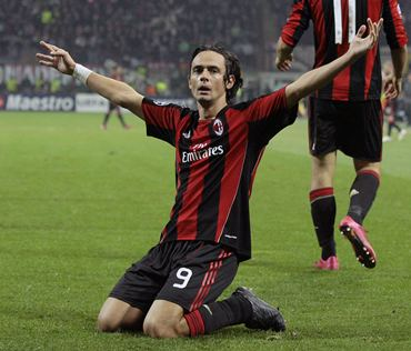 AC Milan's Filippo Inzaghi celebrates after scoring against Real Madrid