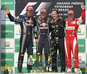 Mark Webber, Sebastian Vettel and Fernando Alonso on the podium