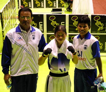 MC Mary Kom with her coaching staff