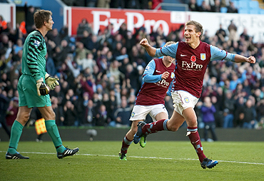 Aston Villa's Marc Albrighton celebrates after scoring against Manchester United on Saturday