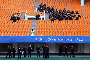 A near-empty football stadium in Guangzhou during the Asian Games