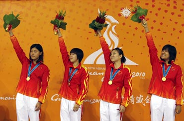 China's women's 4x200m freestyle relay swimming team