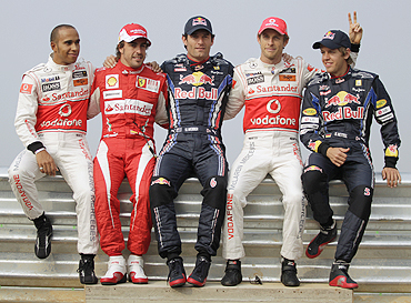 Lewis Hamilton, Fernando Alonso, Mark Webber, Jenson Button and Sebastian Vettel at the Korean GP circuit