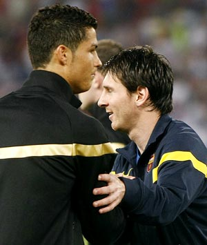 Cristiano Ronaldo (left) with Lionel Messi