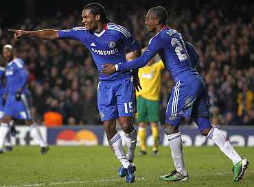Chelsea's Malouda celebrates scoring against MSK Zilina at Stamford Bridge