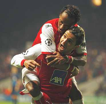 Sporting Braga's Matheus Nascimento celebrates his goal against Arsenal at Braga City stadium