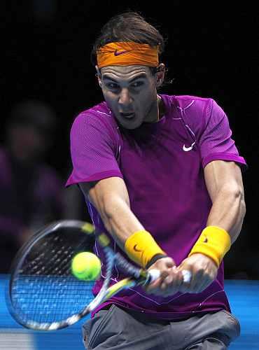 Rafa Nadal retuns to Novak Djokovic at the ATP World Tour Finals in London