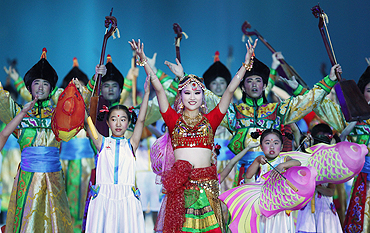 Dancers perform Indian dance at the closing ceremony on Sunday