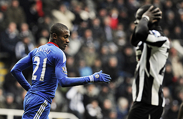 Chelsea's Salomon Kalou (left) celebrates after scoring against Newcastle United  on Sunday