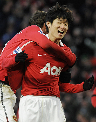Manchester United's Park Ji-Sung celebrates after scoring against Blackburn Rovers on Saturday