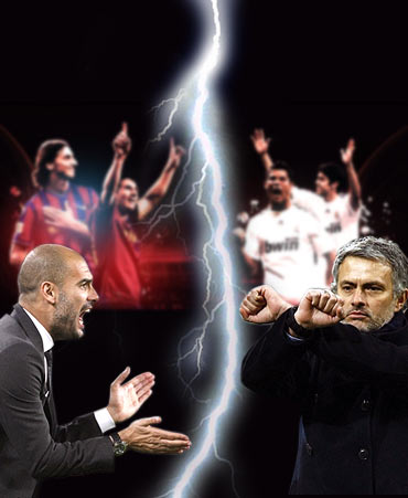 Real Madrid manager Jose Mourinho (left) and Barcelona coach Pep Guardiola