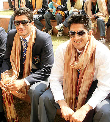 Vijender (right) with fellow-boxer Jai Bhagwan at the Commonwealth Games Village in Delhi